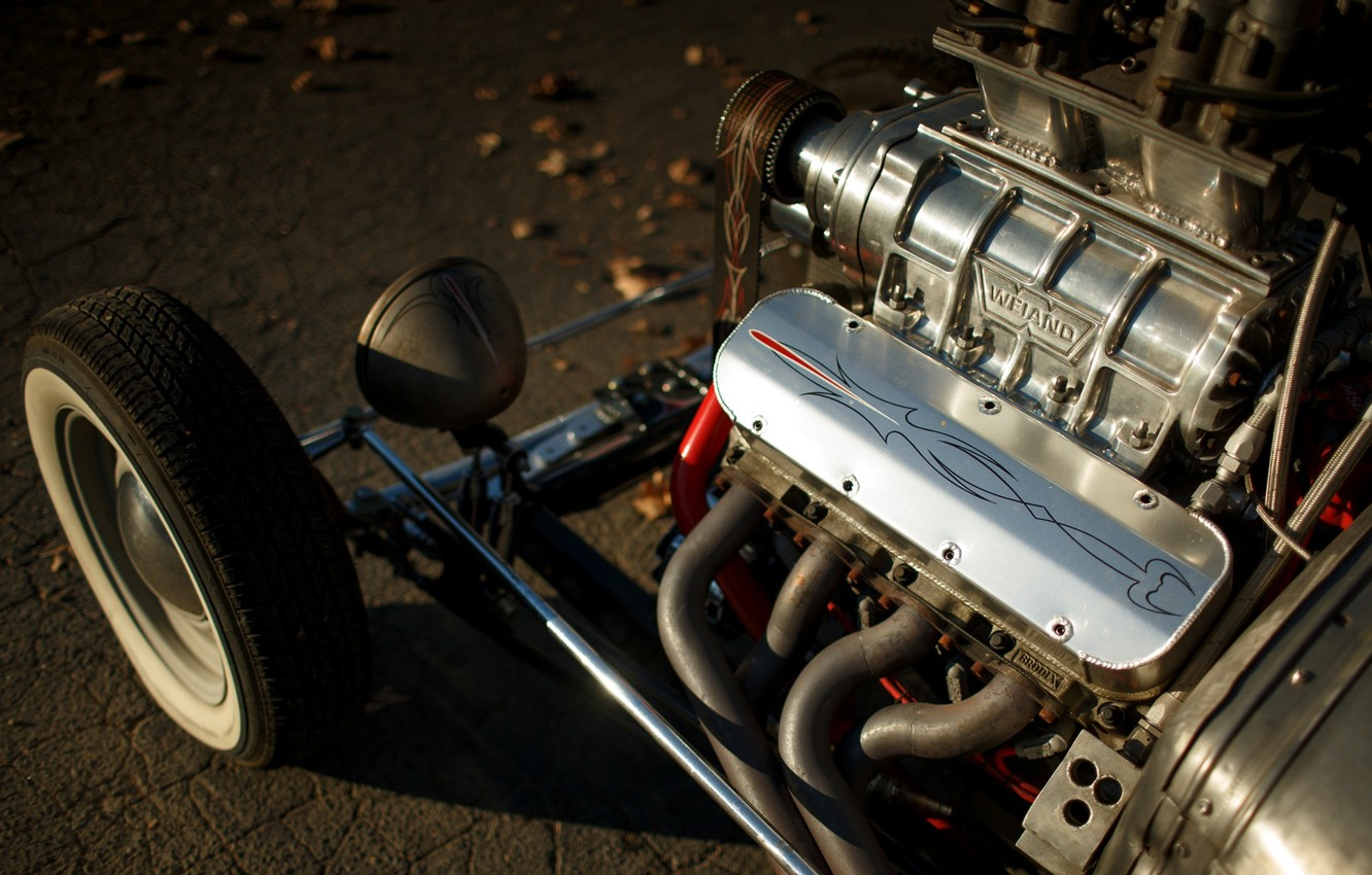 Photo wallpaper Ford, Engine, Hot Rod, Coupe, Rat Rod, Supercharger, Model A, Weiand
