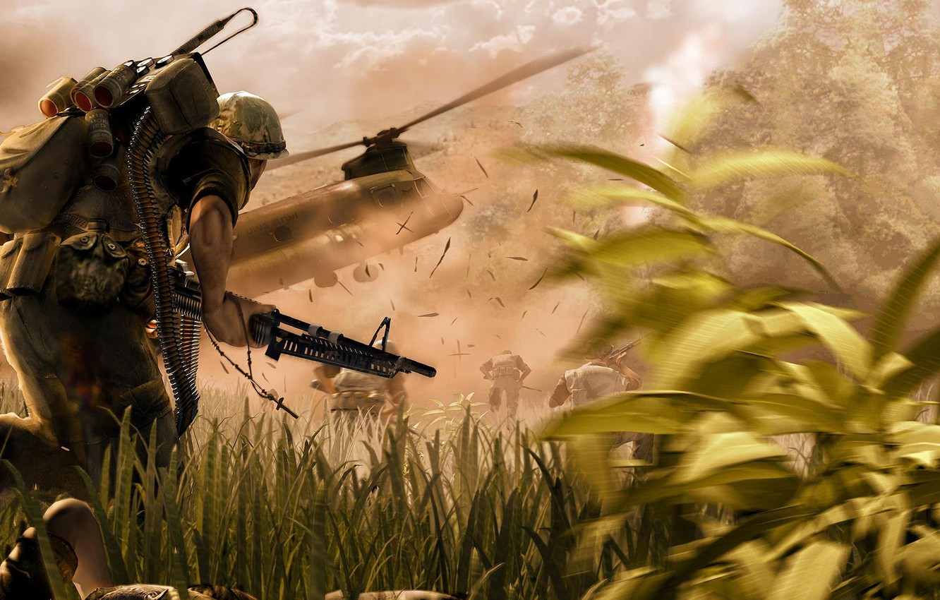Photo wallpaper death, explosions, tape, cartridges, machine gun, equipment, war.soldiers.helicopter