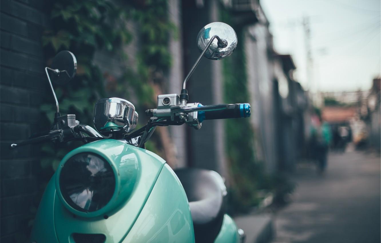 Photo wallpaper green, style, retro, headlight, moped, the wheel, scooter, retro, vespa, stile, Vespa