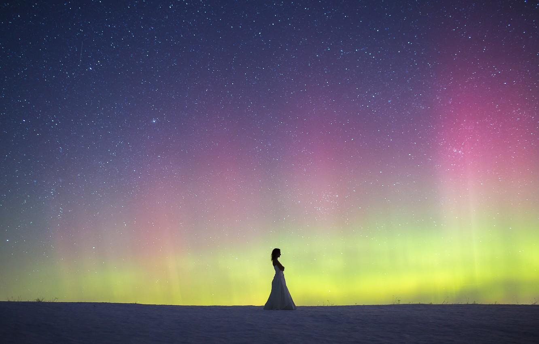 Photo wallpaper woman, winter, snow, northern lights, wedding dress, aurora borealis