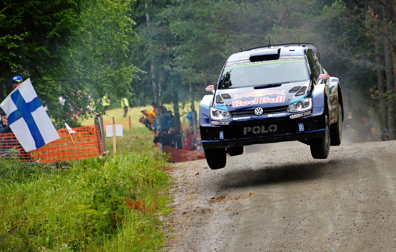 Photo wallpaper Volkswagen, Jump, WRC, Rally, Rally, Finland, Polo