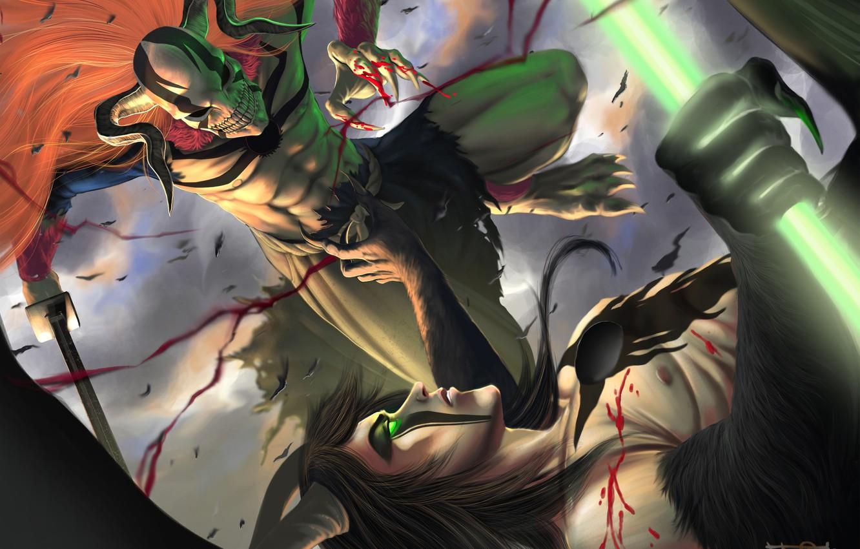 Photo wallpaper weapons, blood, wings, sword, the demon, mask, guys, the battle, Bleach, Bleach, Kurosaki Ichigo, art, …