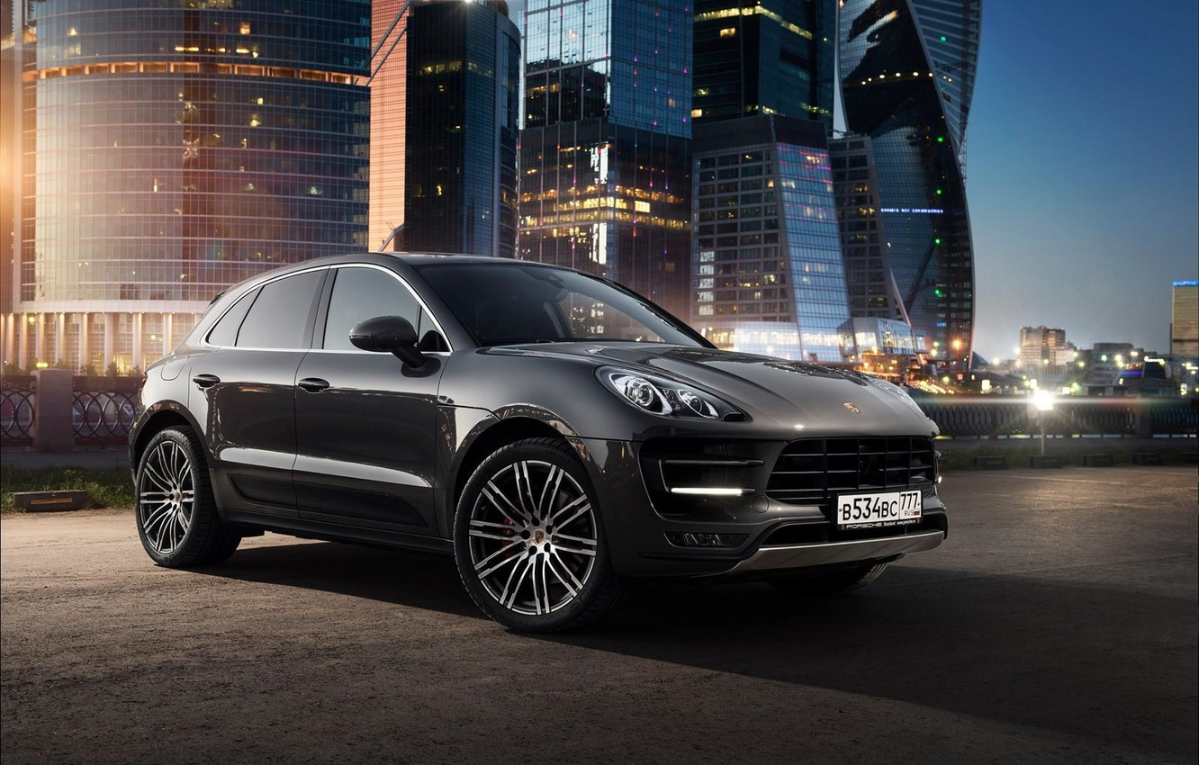 Photo wallpaper Porsche, Car, Russia, Offroad, Macan, Moscow-City, Ligth, Nigth
