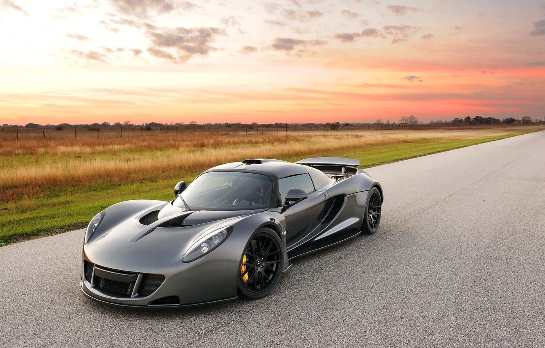 Photo wallpaper the sky, supercar, the front, Hennessey, Venom GT, Hennessy, Dark Knight, Venom GT