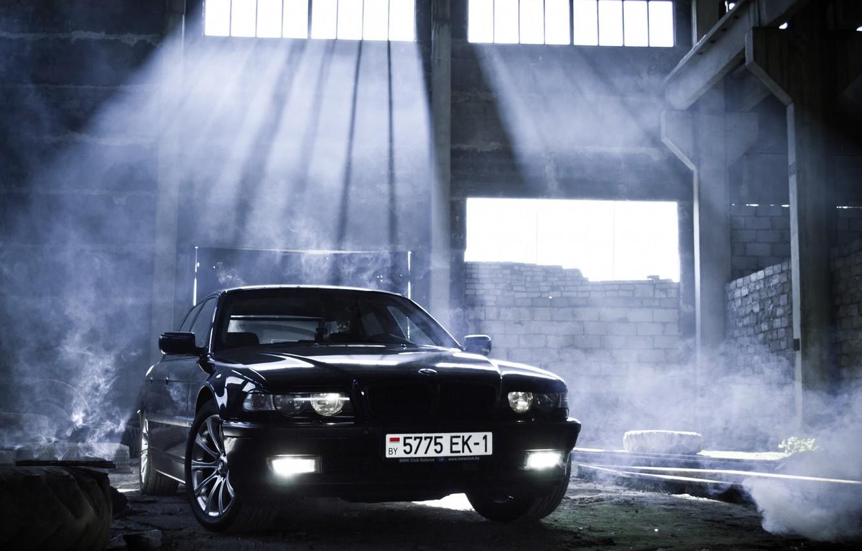 Photo wallpaper car, light, tuning, smoke, bmw, smoke, tuning, Boomer, seven, e38, 7 series, bumer