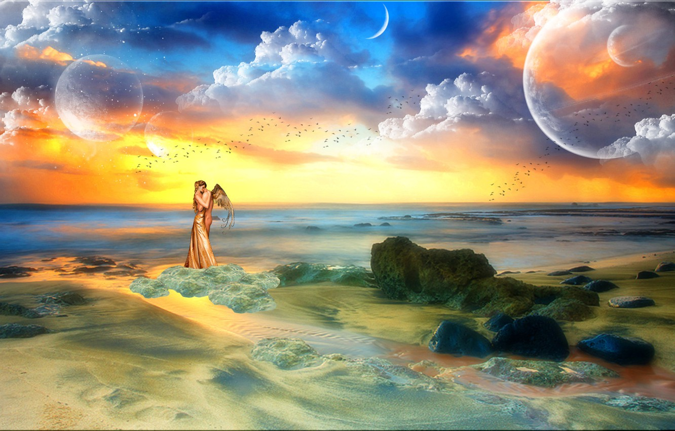Photo wallpaper sea, the sky, girl, clouds, love, birds, stones, fiction, the ocean, planet, people, wings, angel, ...