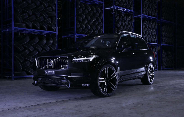 Photo wallpaper black, Volvo, SUV, Black, XC90, Volvo, crossover, Heico Sportiv