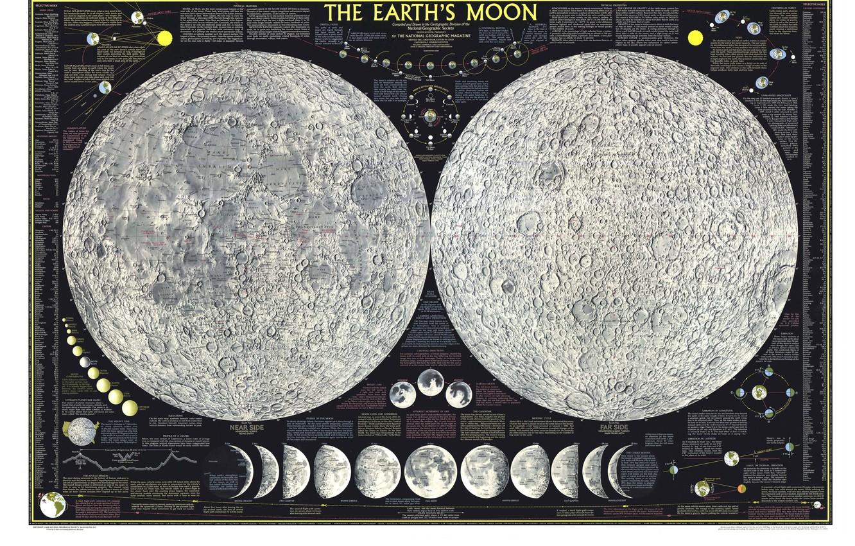 Photo wallpaper map, satellite, The moon, Atlas