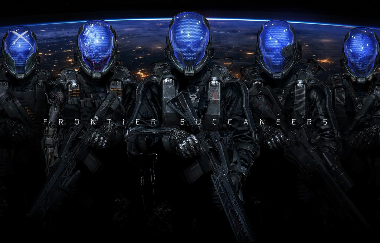 Photo wallpaper weapons, fiction, the suit, soldiers, skull, helmet, cyborg, cyberpunk