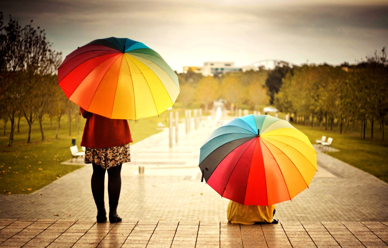 Photo wallpaper girl, trees, the city, background, people, widescreen, Wallpaper, mood, woman, bright, colored, positive, umbrella, umbrellas, …