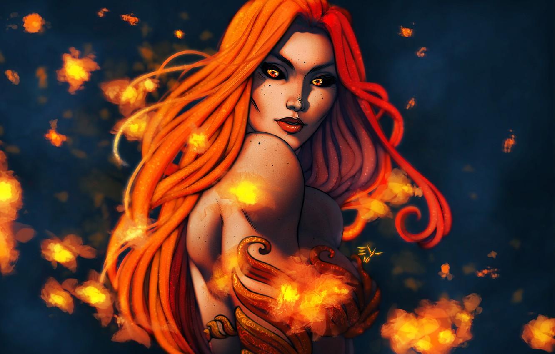 Photo wallpaper chest, look, girl, face, fire, beauty, art, red
