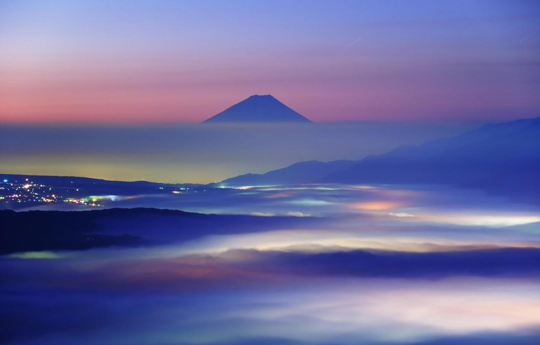 Photo wallpaper clouds, landscape, mountains, nature, the city, dawn, Japan, Fuji, glow, haze