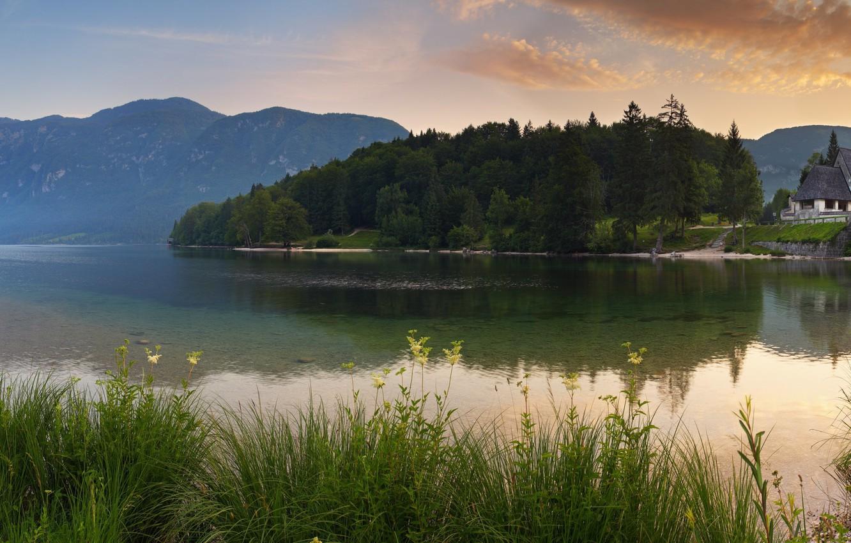 Photo wallpaper mountains, bridge, house, river, morning