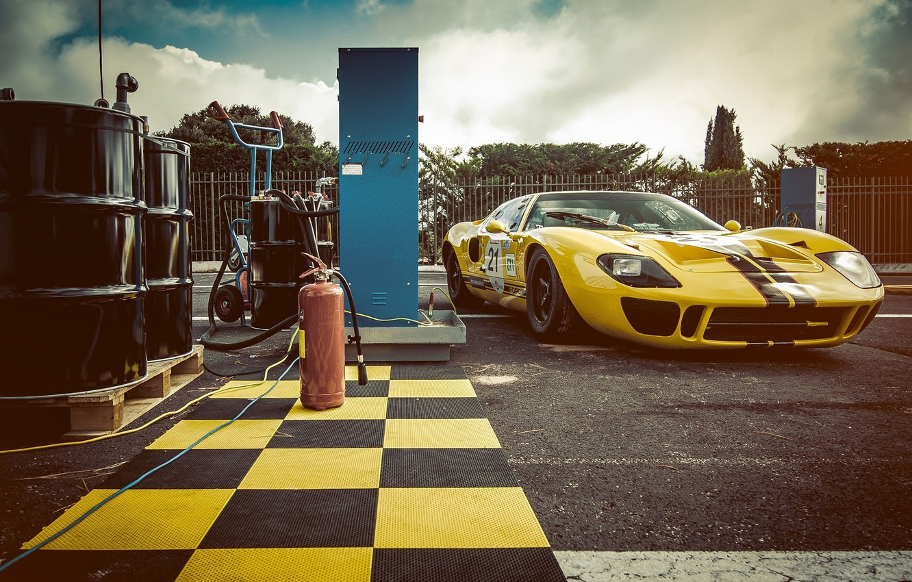 Photo wallpaper Ford, Car, Race, Yellow, 1966, GT40