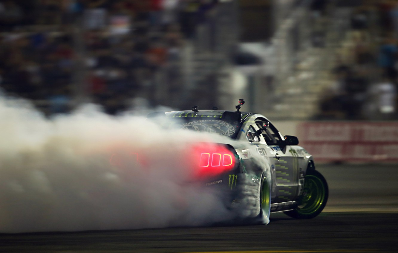 Photo wallpaper Mustang, Ford, Drift, Glow, Smoke, Tuning, Competition, Sportcar, Backlight