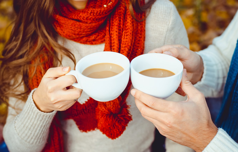 Photo wallpaper autumn, coffee, Cup, hot, happy, autumn, couple, coffee