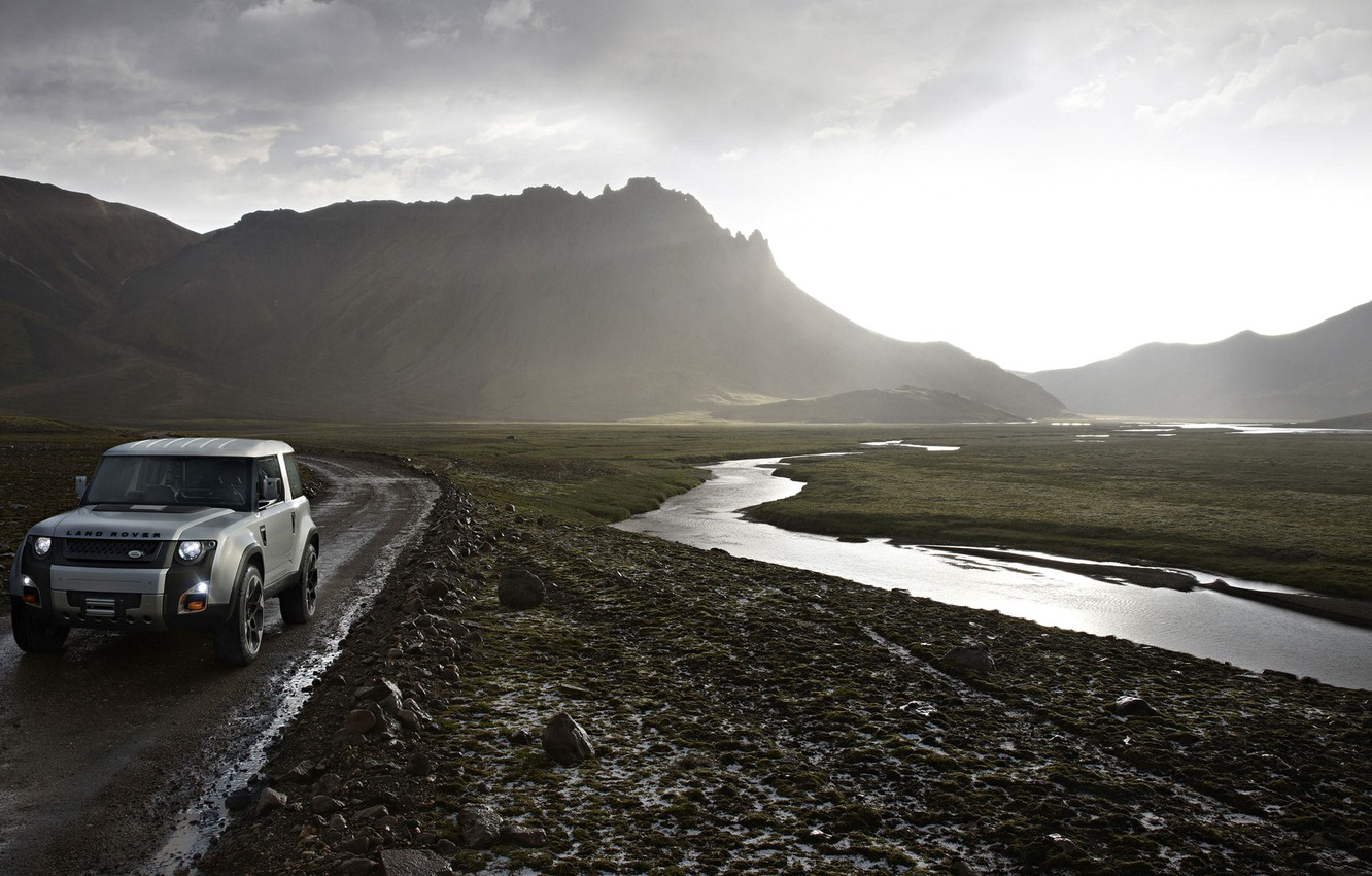 Photo wallpaper road, landscape, mountains, stream, Land Rover, DC100