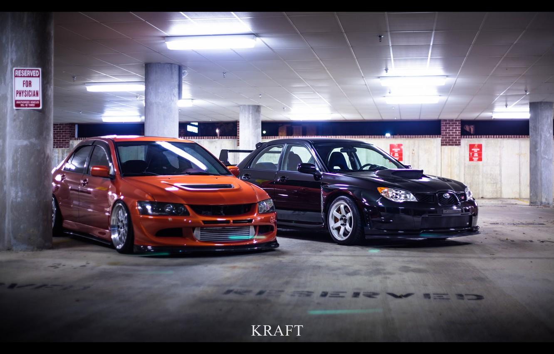 Photo wallpaper Orange, STI, Black, Style, Evo, Stance, Low