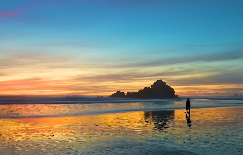 Photo wallpaper sea, beach, love, sunset, romance, the evening, pair, walk, two