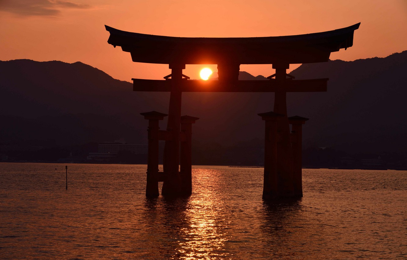 Wallpaper Sunset Gate Japan Tide Itsukushima Torii Images For