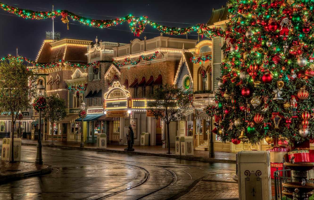 Photo wallpaper road, the sky, lights, holiday, Christmas, The city, New year