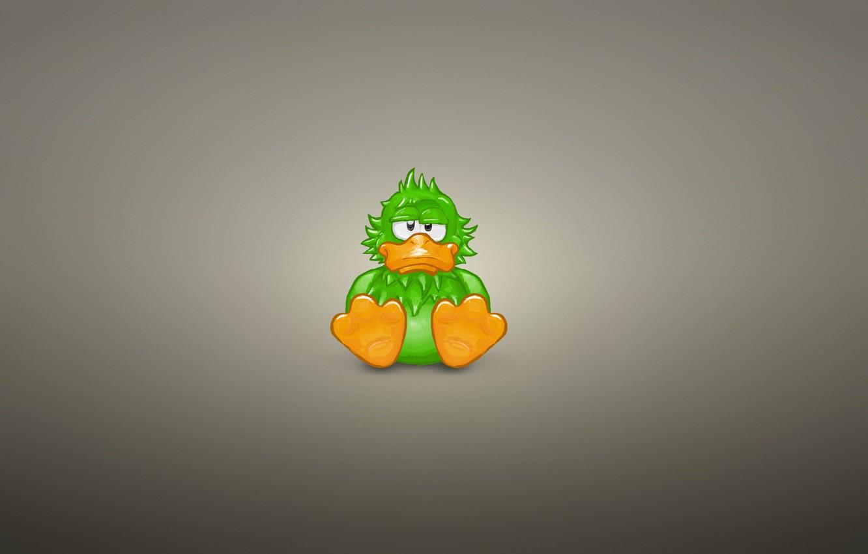 Photo wallpaper animal, minimalism, sitting, green, duck, duck
