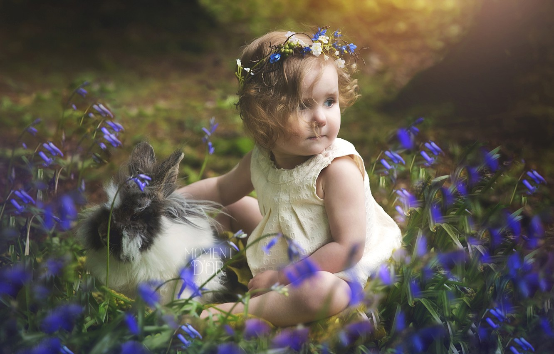 Photo wallpaper childhood, child, rabbit, girl, bells, wreath