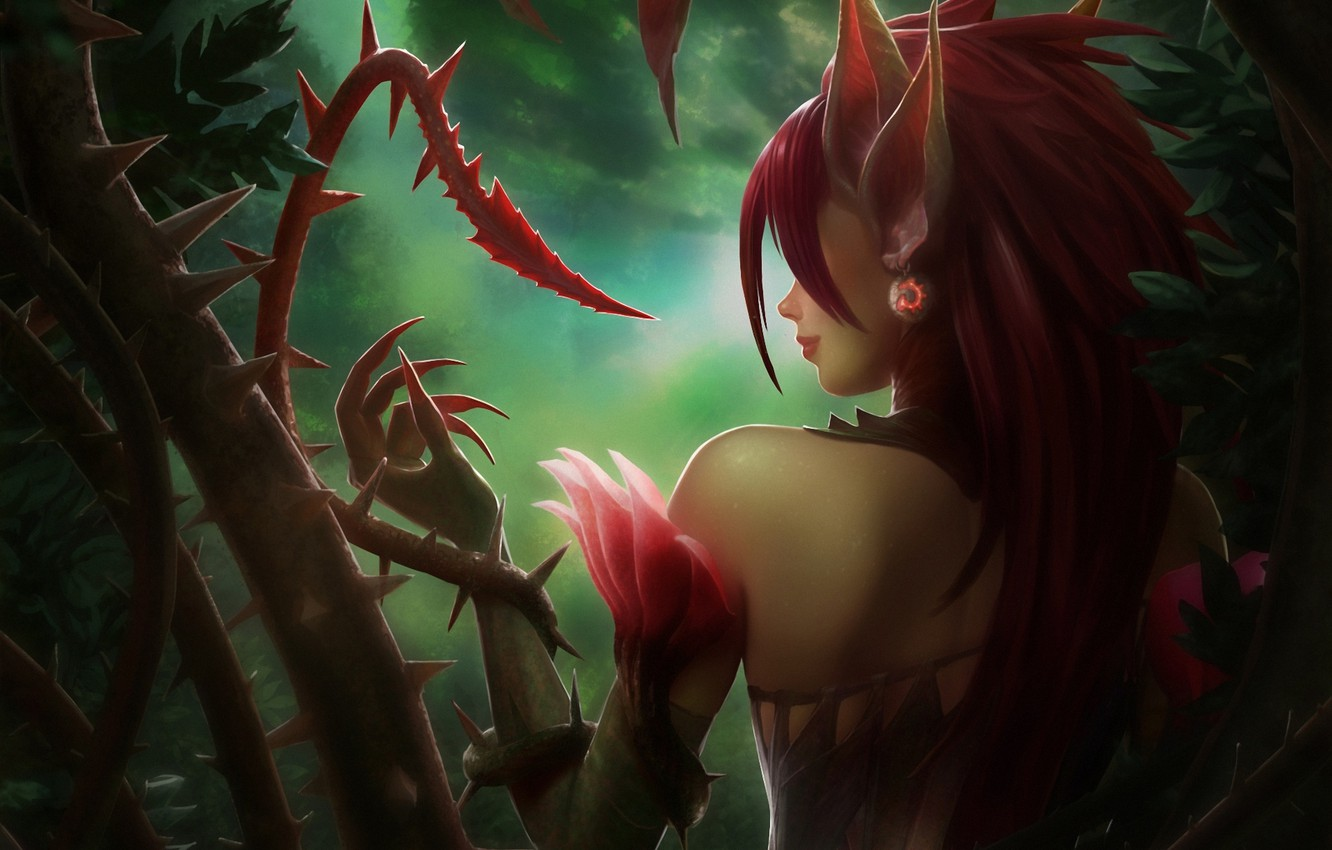 Photo wallpaper forest, girl, plants, spikes, claws, ears, back, vines, league of legends, zyra