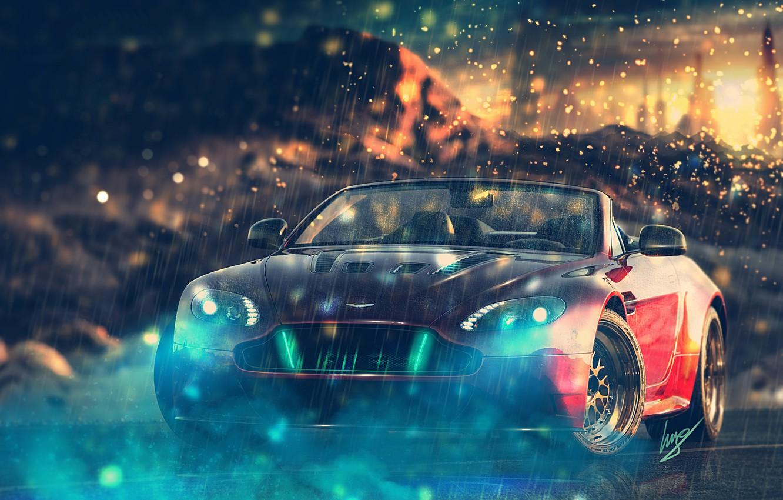 Photo wallpaper Aston Martin, Aston Martin, red, V12, front, Vantage S Roadster, HansenART, by ilpol my