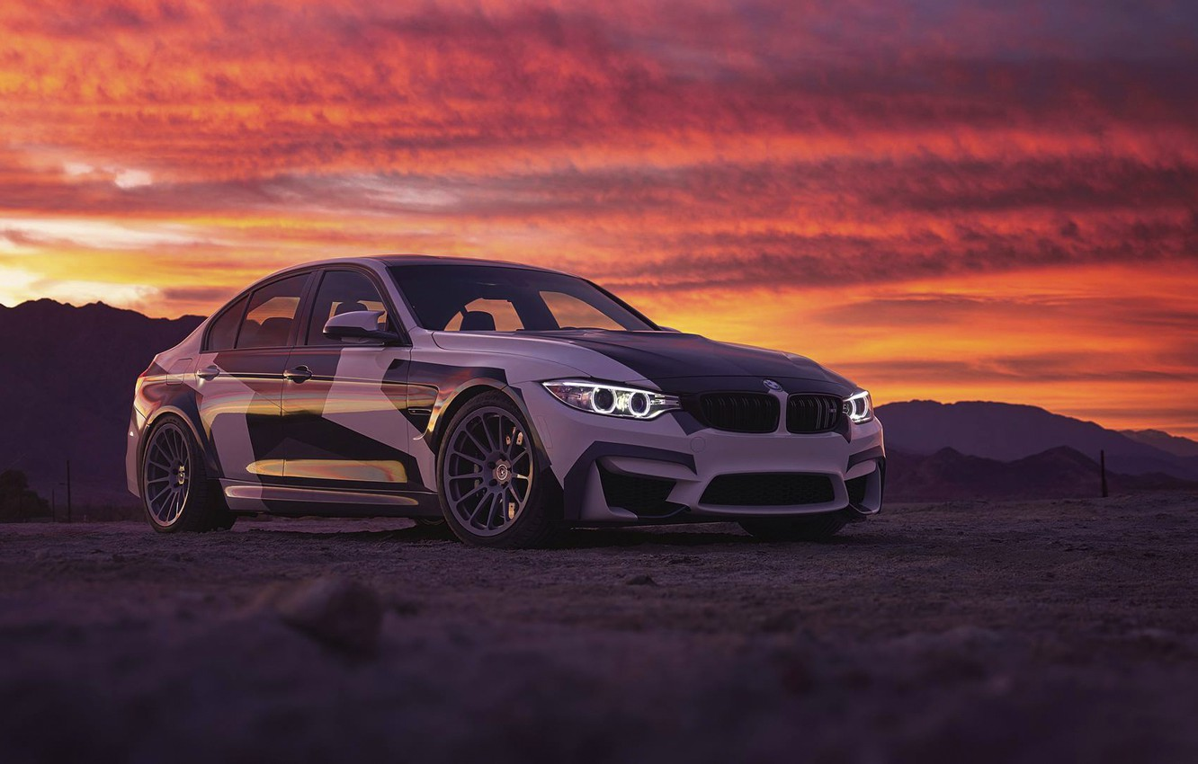 Photo wallpaper BMW, Light, Clouds, Sky, Front, Black, Sunset, White, And