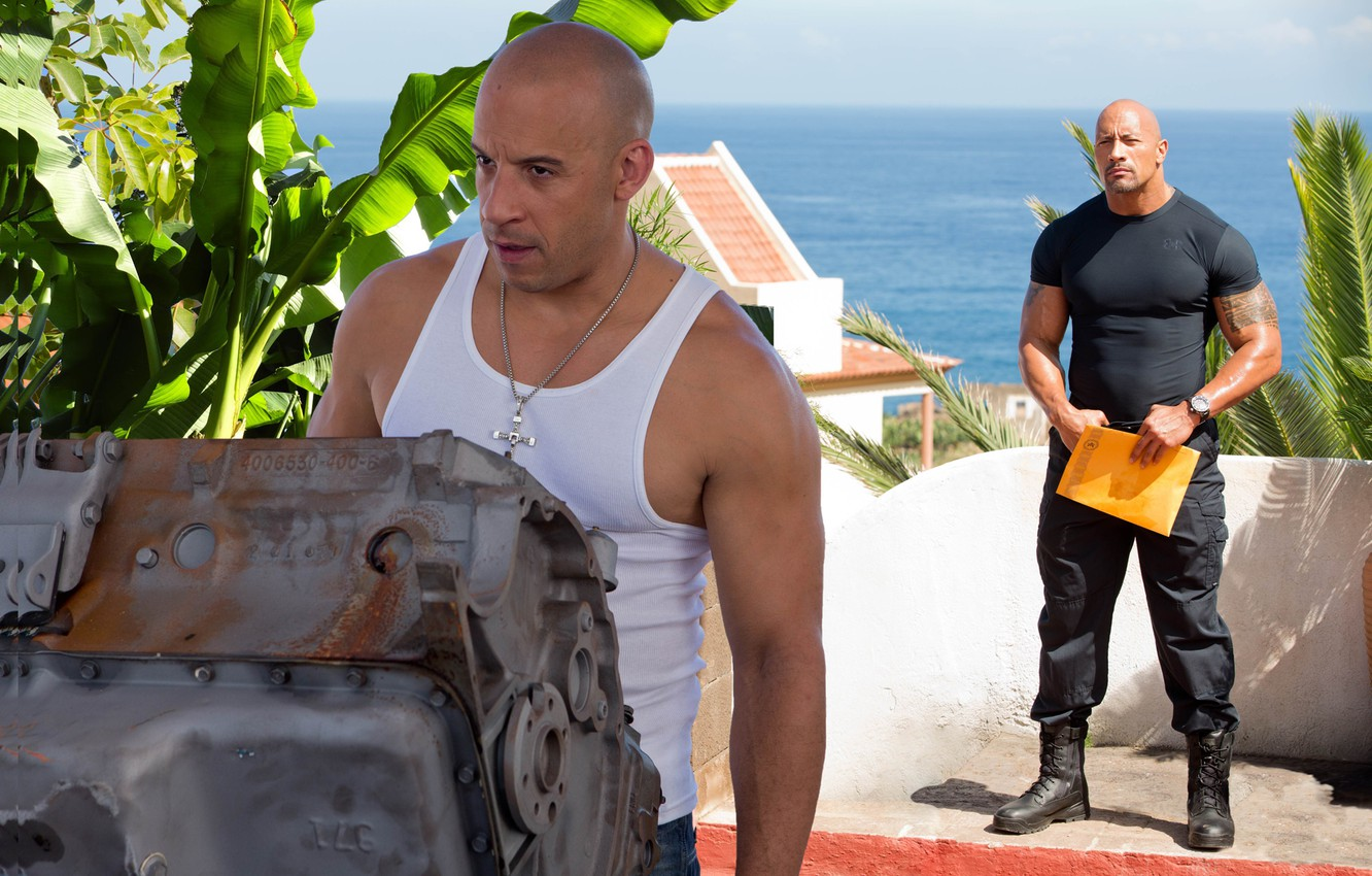 Photo wallpaper sea, flowers, the film, VIN Diesel, Dwayne Johnson, Vin Diesel, Dwayne Johnson, COP, Dominic Toretto, ...