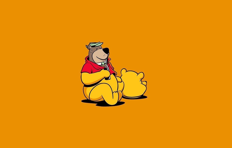 Photo wallpaper Minimalism, Humor, Bear, Art, Winnie The Pooh