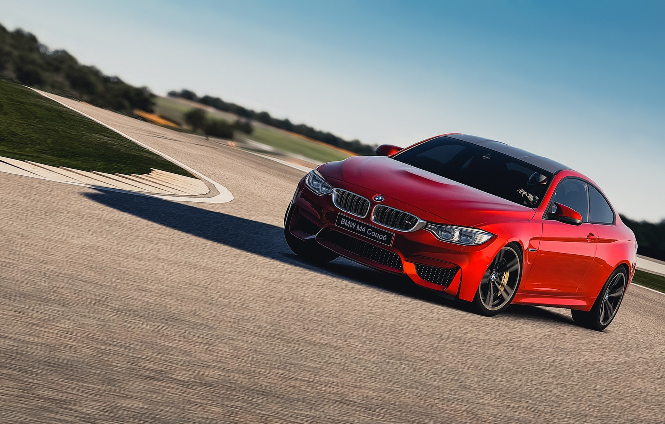 Photo wallpaper Red, BMW, Turn, Skid, Red, Coupe, F82, Gran Turismo 6