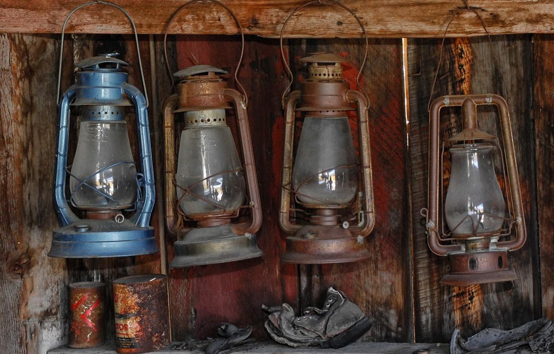 Photo wallpaper dirt, wall, lamps kerosene