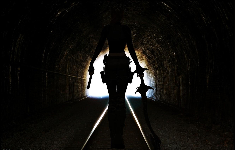 Photo wallpaper girl, gun, weapons, the game, back, sword, lara croft, tomb raider, output, is