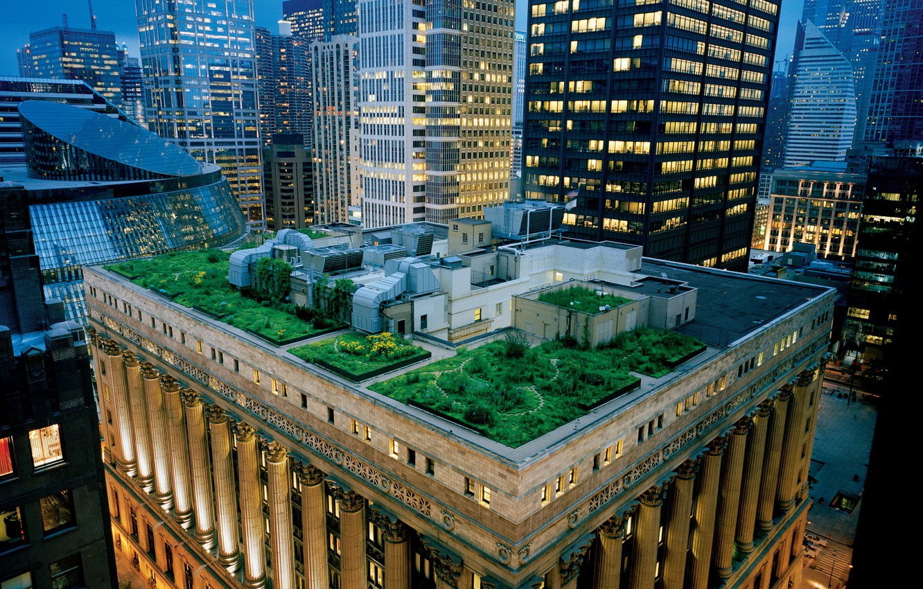 Photo wallpaper roof, skyscrapers, the evening, garden, Chicago, architecture, USA, terrace, usa