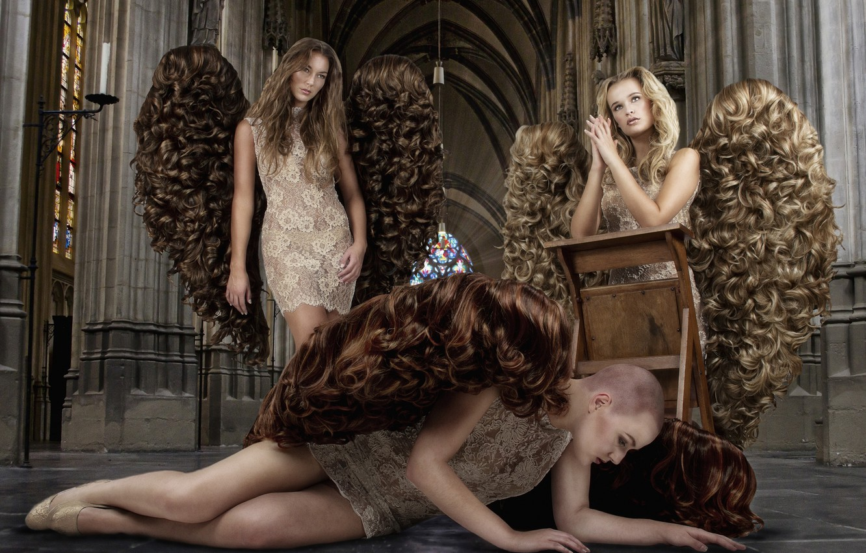Photo wallpaper girls, hair, wings, Angels