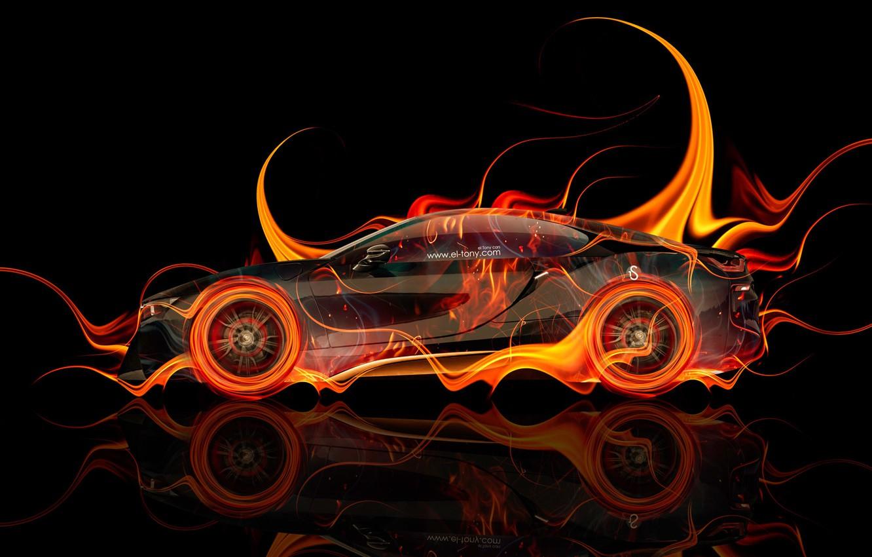 Photo wallpaper Auto, Black, Fire, BMW, Machine, BMW, Wallpaper, Background, Orange, Orange, Car, Fire, Color, Art, Photoshop, …