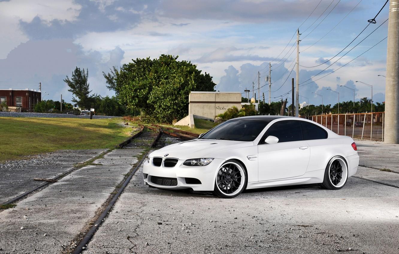 Photo wallpaper white, the sky, clouds, bmw, BMW, railroad, white, wheels, e92, power line, stolly