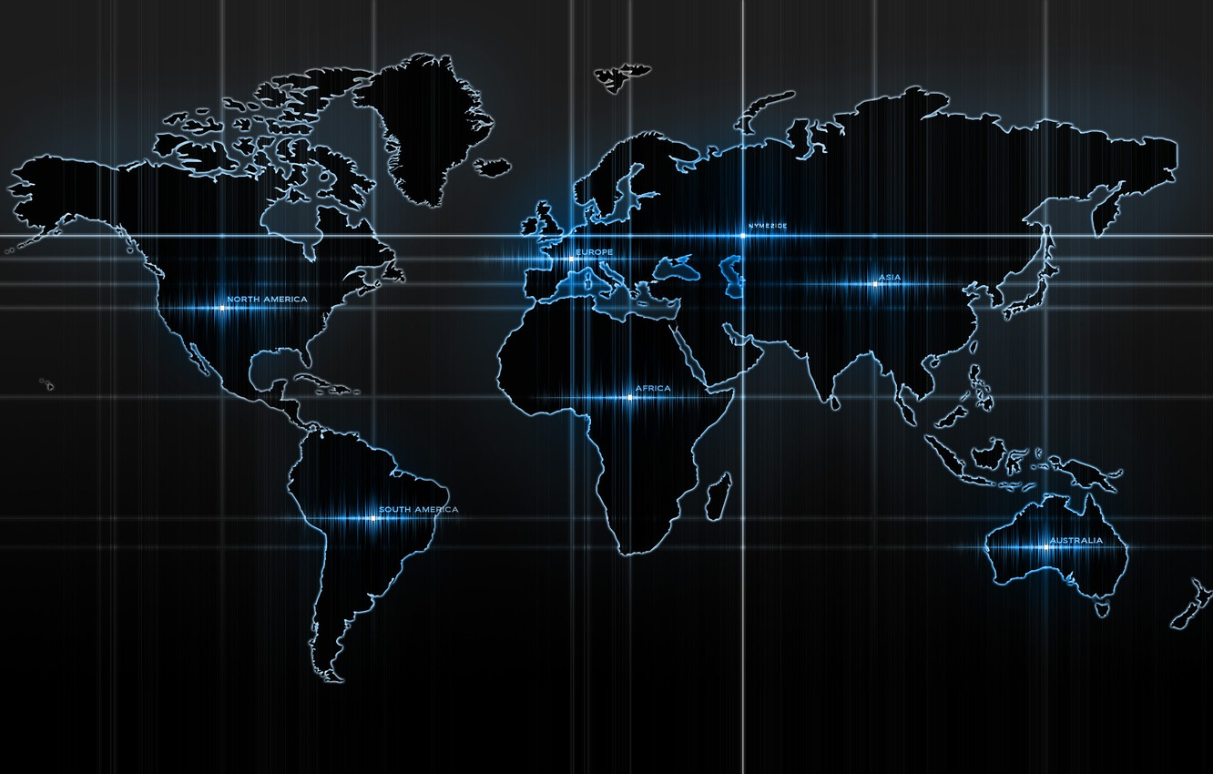 Photo wallpaper blue, strip, labels, map, glow, continents, world map
