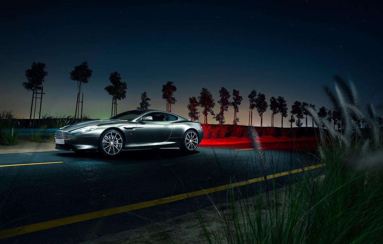 Photo wallpaper Aston Martin, Light, DB9, Front, Night, Supercar