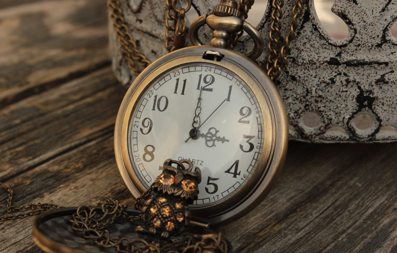 Photo wallpaper owl, watch, figures, pendant, decoration, chain