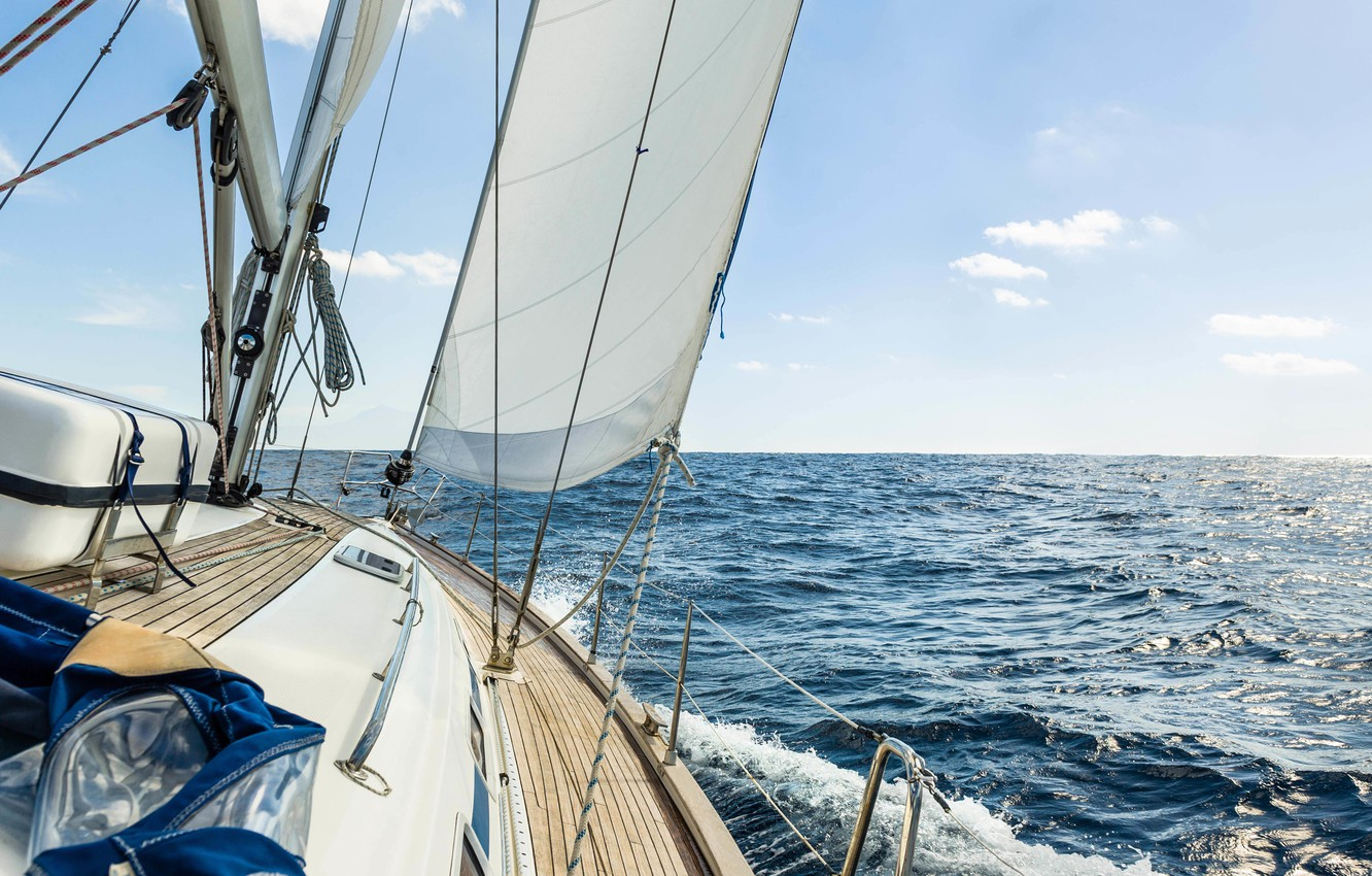 Photo wallpaper sea, wave, the sky, squirt, the wind, stay, speed, yacht, horizon, space, sail, deck, summer, …