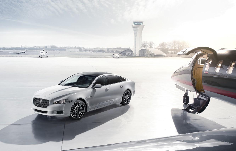Photo wallpaper Hangar, Plane, Jaguar XJ Ultimate