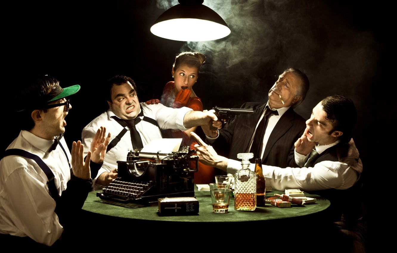 Photo wallpaper glass, emotions, lamp, trunk, typewriter, cognac, cigarette, mafia