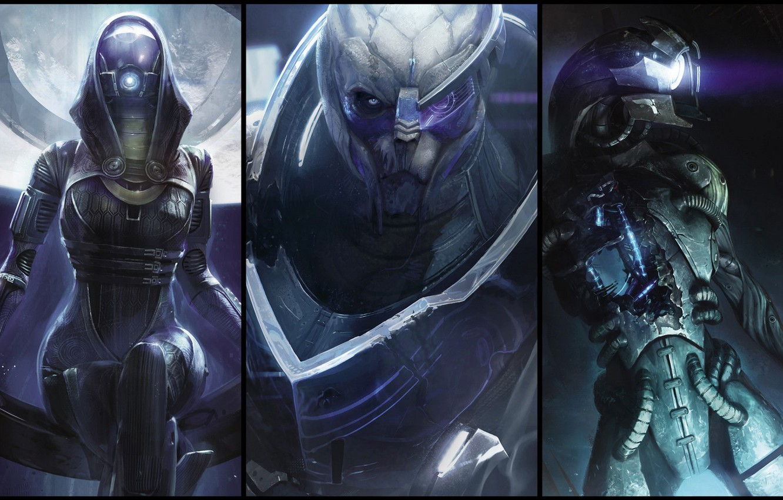 Photo wallpaper Mass Effect, Garrus, legion, Tali Zorah nar Rayya