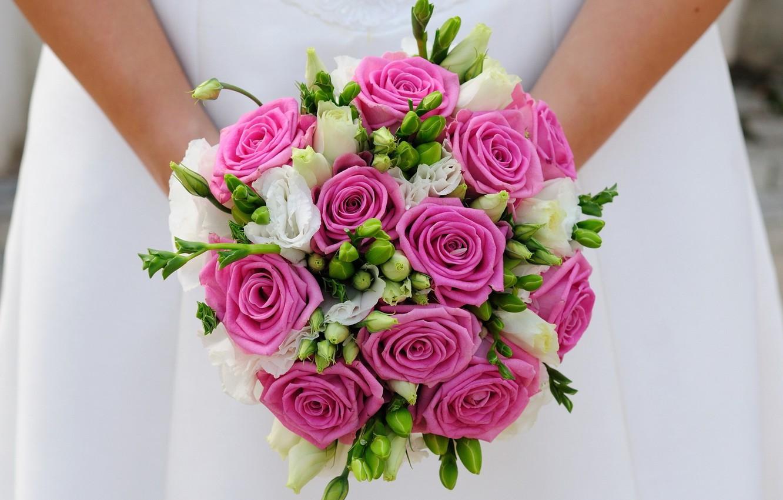 Photo wallpaper girl, bouquet, the bride, wedding