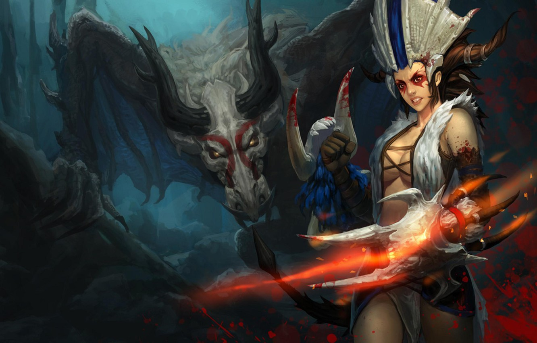 Photo wallpaper Dragon, Shyvana, League of Legend, Blood