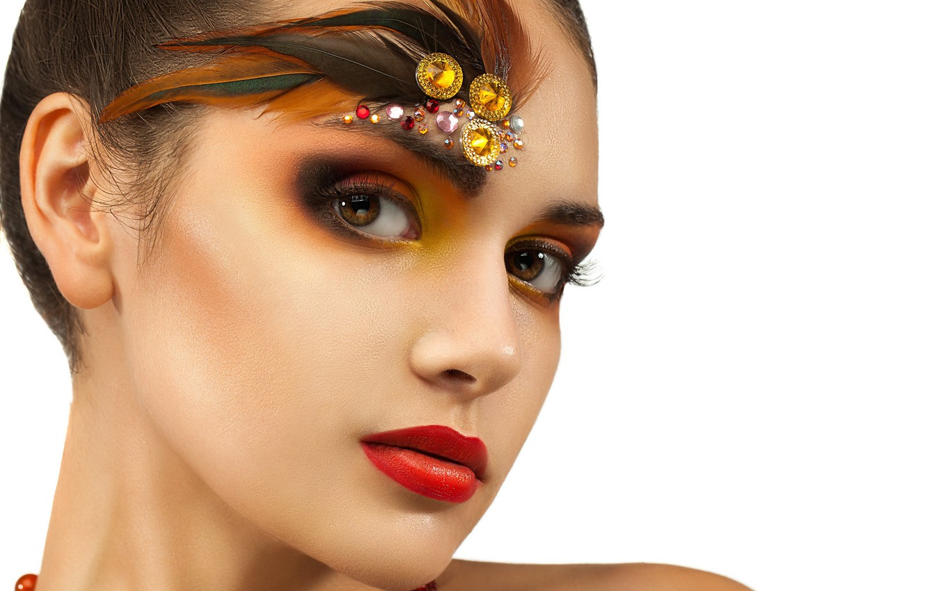 Photo wallpaper white, look, girl, face, background, hair, feathers, makeup, brown eyes, collected
