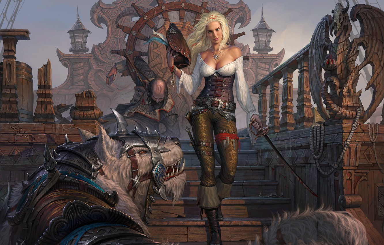 Photo wallpaper look, girl, weapons, ship, hat, being, art, blonde, beast, pirates